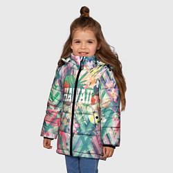 Куртка зимняя для девочки Hawaii Summer цвета 3D-черный — фото 2