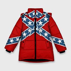 Куртка зимняя для девочки Флаг советской конфедерации цвета 3D-черный — фото 1