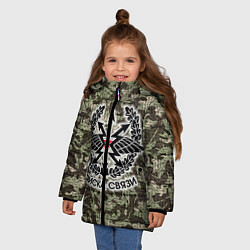 Куртка зимняя для девочки Войска связи: камуфляж цвета 3D-черный — фото 2