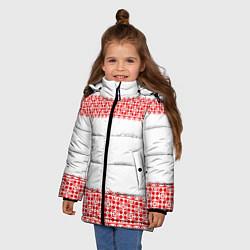 Куртка зимняя для девочки Славянский орнамент (на белом) цвета 3D-черный — фото 2