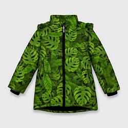 Куртка зимняя для девочки Тропические листья цвета 3D-черный — фото 1