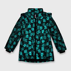 Куртка зимняя для девочки Инопланетная письменность цвета 3D-черный — фото 1