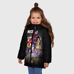 Детская зимняя куртка для девочки с принтом Messi FCB, цвет: 3D-черный, артикул: 10112080706065 — фото 2