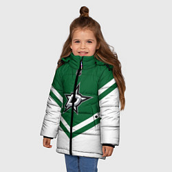 Детская зимняя куртка для девочки с принтом NHL: Dallas Stars, цвет: 3D-черный, артикул: 10112154206065 — фото 2