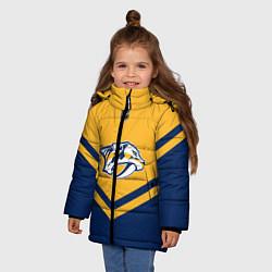 Детская зимняя куртка для девочки с принтом NHL: Nashville Predators, цвет: 3D-черный, артикул: 10112236106065 — фото 2