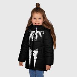 Куртка зимняя для девочки Медведь бизнесмен цвета 3D-черный — фото 2