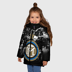 Детская зимняя куртка для девочки с принтом Интер ФК, цвет: 3D-черный, артикул: 10113557306065 — фото 2