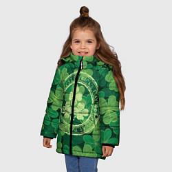 Куртка зимняя для девочки Ireland, Happy St. Patricks Day цвета 3D-черный — фото 2