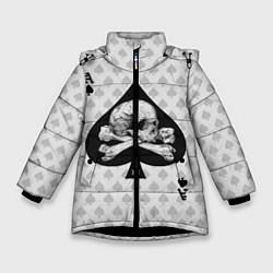 Куртка зимняя для девочки Смертельный туз цвета 3D-черный — фото 1