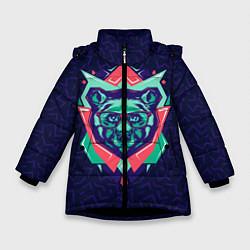 Куртка зимняя для девочки Hipster Bear цвета 3D-черный — фото 1