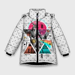 Куртка зимняя для девочки Олень почтальон цвета 3D-черный — фото 1