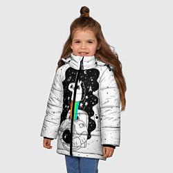 Куртка зимняя для девочки Единорог астронавт цвета 3D-черный — фото 2
