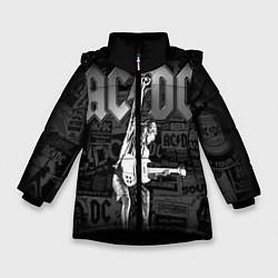 Куртка зимняя для девочки AC/DC: Rock You цвета 3D-черный — фото 1