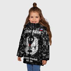 Куртка зимняя для девочки АВ: Служу России цвета 3D-черный — фото 2