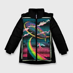 Куртка зимняя для девочки Led Zeppelin: Colour Fly цвета 3D-черный — фото 1