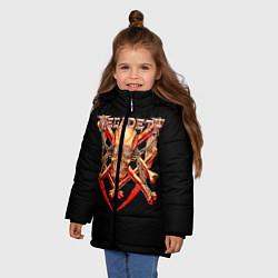 Детская зимняя куртка для девочки с принтом Megadeth: Gold Skull, цвет: 3D-черный, артикул: 10118375606065 — фото 2