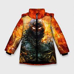 Куртка зимняя для девочки Disturbed: Monster Flame цвета 3D-черный — фото 1