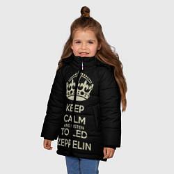 Куртка зимняя для девочки Keep Calm & Led Zeppelin цвета 3D-черный — фото 2
