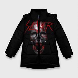 Детская зимняя куртка для девочки с принтом Slayer: Wild Skull, цвет: 3D-черный, артикул: 10119943706065 — фото 1