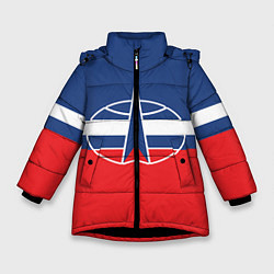 Куртка зимняя для девочки Флаг космический войск РФ цвета 3D-черный — фото 1