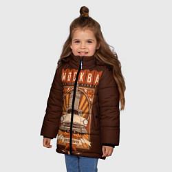 Детская зимняя куртка для девочки с принтом Moscow: mother Russia, цвет: 3D-черный, артикул: 10121018006065 — фото 2