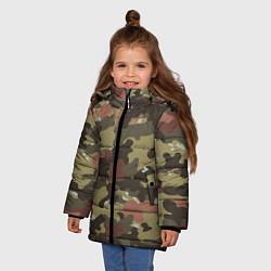 Куртка зимняя для девочки Камуфляж: коричневый/хаки цвета 3D-черный — фото 2