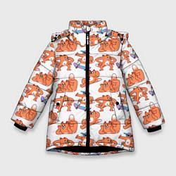 Куртка зимняя для девочки Стикеры с лисом цвета 3D-черный — фото 1