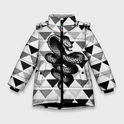 Куртка зимняя для девочки Snake Geometric цвета 3D-черный — фото 1