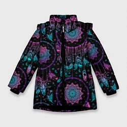 Куртка зимняя для девочки Ловцы снов цвета 3D-черный — фото 1