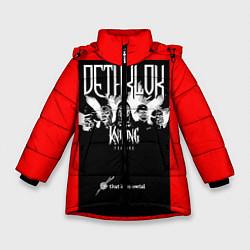 Детская зимняя куртка для девочки с принтом Dethklok: Knitting factory, цвет: 3D-черный, артикул: 10134389506065 — фото 1