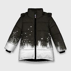 Детская зимняя куртка для девочки с принтом Ночная полянка, цвет: 3D-черный, артикул: 10135253106065 — фото 1