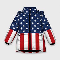 Куртка зимняя для девочки Флаг США цвета 3D-черный — фото 1