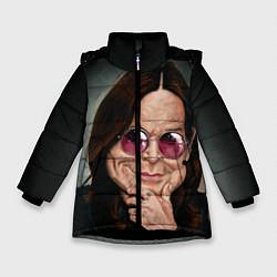 Детская зимняя куртка для девочки с принтом Оззи Осборн, цвет: 3D-черный, артикул: 10138083706065 — фото 1