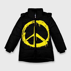 Куртка зимняя для девочки Peace цвета 3D-черный — фото 1