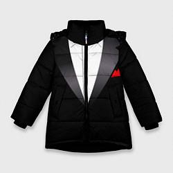 Куртка зимняя для девочки Смокинг мистера цвета 3D-черный — фото 1