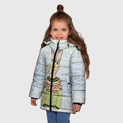 Куртка зимняя для девочки Кролик хипстер цвета 3D-черный — фото 2