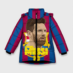 Детская зимняя куртка для девочки с принтом FCB Lionel Messi, цвет: 3D-черный, артикул: 10139223506065 — фото 1
