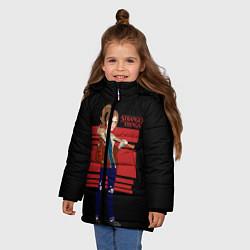 Куртка зимняя для девочки Очень странные дела цвета 3D-черный — фото 2