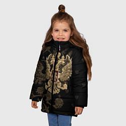 Куртка зимняя для девочки Золотой Герб России цвета 3D-черный — фото 2