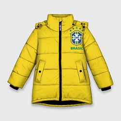Детская зимняя куртка для девочки с принтом Сборная Бразилии, цвет: 3D-черный, артикул: 10143141106065 — фото 1
