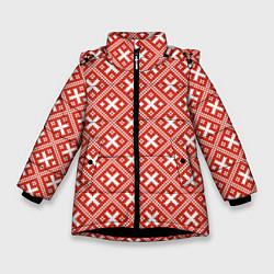 Куртка зимняя для девочки Обережная вышиванка: красно-белая цвета 3D-черный — фото 1