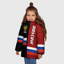 Детская зимняя куртка для девочки с принтом Moscow, Russia, цвет: 3D-черный, артикул: 10147290706065 — фото 2