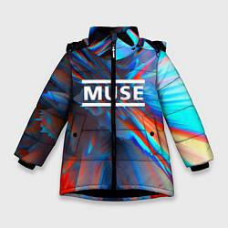 Куртка зимняя для девочки Muse: Colour Abstract цвета 3D-черный — фото 1