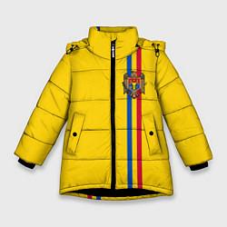 Куртка зимняя для девочки Молдавия: лента с гербом цвета 3D-черный — фото 1