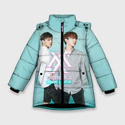 Детская зимняя куртка для девочки с принтом Shownu & Kihyun, цвет: 3D-черный, артикул: 10150036506065 — фото 1