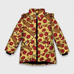 Куртка зимняя для девочки Любитель пиццы цвета 3D-черный — фото 1