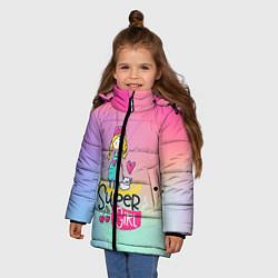 Куртка зимняя для девочки SUPER GIRL цвета 3D-черный — фото 2