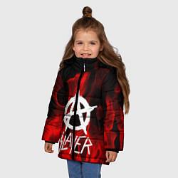 Детская зимняя куртка для девочки с принтом Slayer Flame, цвет: 3D-черный, артикул: 10151631306065 — фото 2