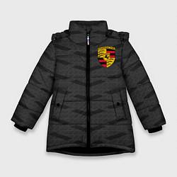 Куртка зимняя для девочки Porsche: Grey Sport цвета 3D-черный — фото 1