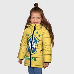 Детская зимняя куртка для девочки с принтом Brazil Team, цвет: 3D-черный, артикул: 10154256306065 — фото 2